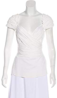 BCBGMAXAZRIA Short Sleeve Ruched Top