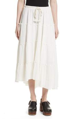 See by Chloe Crinkled Cotton Midi Skirt