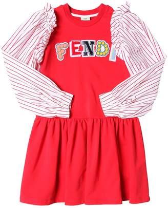 Fendi Poplin Sleeves Cotton Sweatshirt Dress