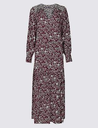Marks and Spencer Floral Print Long Sleeve Shirt Maxi Dress
