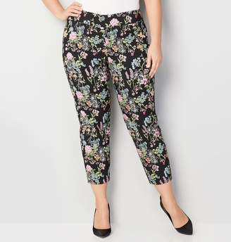 Avenue Pink Floral Super Stretch Pull-On Ankle Pant 28-32