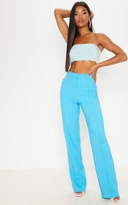 PrettyLittleThing Blue High Waisted Straight Leg Trouser