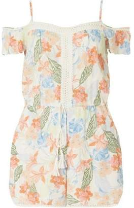 Dorothy Perkins Womens Petite Multi Coloured Tropical Print Playsuit
