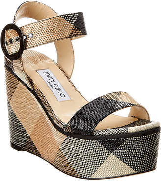 Jimmy Choo Abigail 100 Raffia Wedge Sandal
