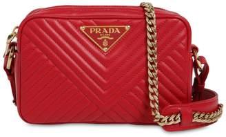 Prada Quilted Leather Triangle Logo Camera Bag