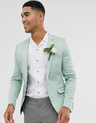 Asos Design DESIGN wedding super skinny cotton blazer in mint green