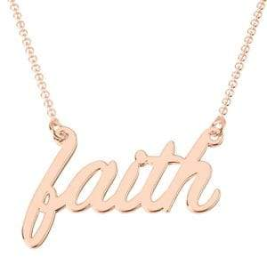 Jewlr 14K Rose Gold Have Faith Pendant Necklace