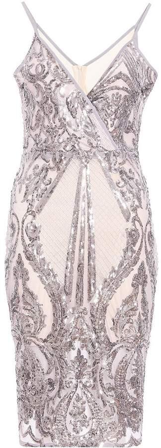 TOWIE Mauve Sequin Wrap Midi Dress