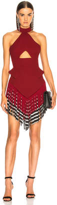 David Koma Halter Fringe Hem Dress