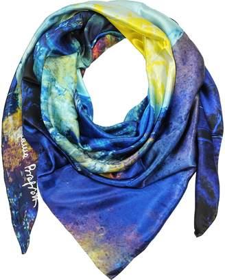 Laura Biagiotti Multicolor Printed Twill Silk Oversized Scarf