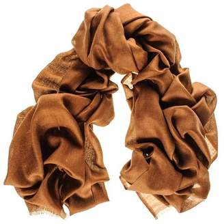 Black Military Brown Cashmere and Silk Wrap