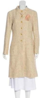 Chanel Tweed Knee-Length Coat Pink Tweed Knee-Length Coat