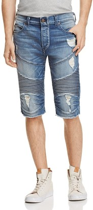 True Religion Geno Moto Straight Fit Cutoff Shorts in Worn Flagstone $249 thestylecure.com
