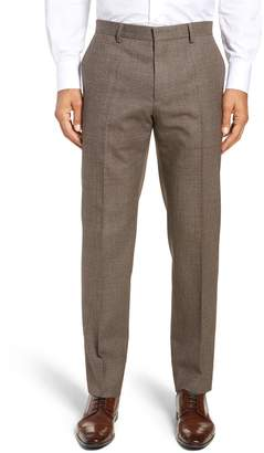 BOSS Giro Flat Front Solid Wool & Cotton Trousers