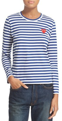 Women's Comme Des Garcons Play Stripe Cotton Tee $155 thestylecure.com