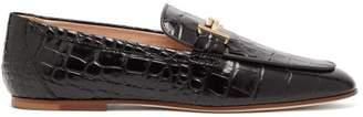 Tod's Double T Bar Crocodile Effect Leather Loafers - Womens - Black