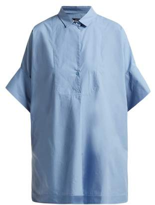 Max Mara Carole Cotton Poplin Shirt - Womens - Light Blue