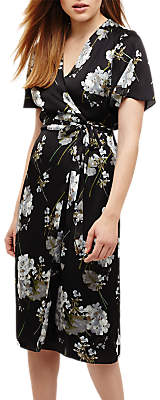 Phase Eight Tasha Floral Print Wrap Dress, Black/Multi