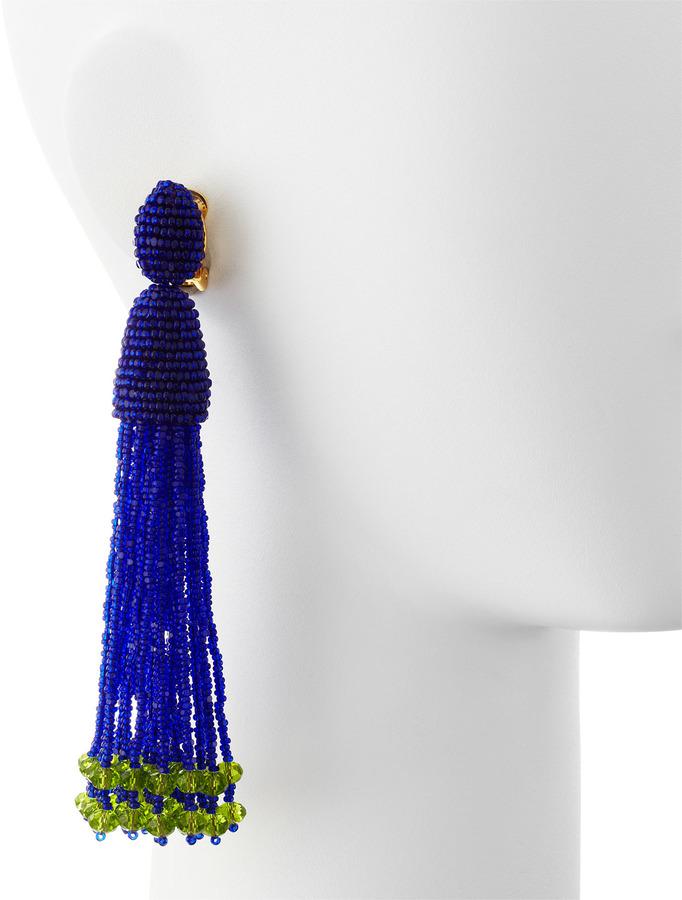 Oscar de la Renta Long Beaded Tassel Clip Earrings, Mulberry Blue/Green