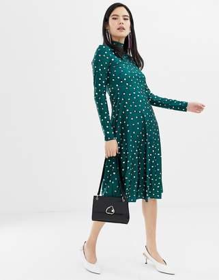 Monki high neck dot print midi dress in green