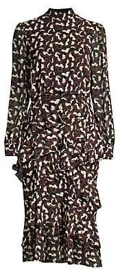 Saloni Women's Isa Ruffle Midi Dress - Size 0
