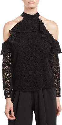 Zac Posen Carola Lace Halter Blouse w/ Cold Shoulders