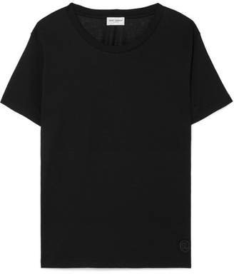 Saint Laurent Essentials Appliquéd Cotton-jersey T-shirt - Black