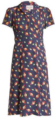 Morgan Hvn Planet Print Silk Dress - Womens - Navy Print