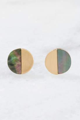 Gold Half Circle Stud Earrings