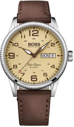 BOSS Hugo Men's Pilot Brown Leather Strap Watch 44mm 1513332