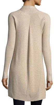 Neiman Marcus Vertical-Rib Open-Front Cardigan
