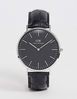 Daniel Wellington Classic Black Reading Leather Watch With Silver Dial 40mm