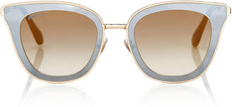 Jimmy Choo LORY Black and Gold Cat-Eye Sunglasses with Mirror Lenses