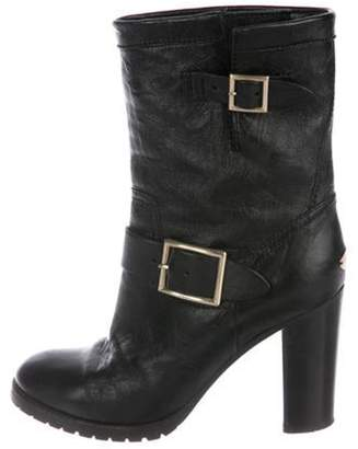 Jimmy Choo Leather Round-Toe Mid-Calf Boots Black Leather Round-Toe Mid-Calf Boots
