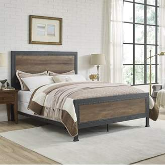 Walker Edison Manor Park Queen Size Industrial Wood and Metal Bed- Rustic Oak (Multiple Colors Available)