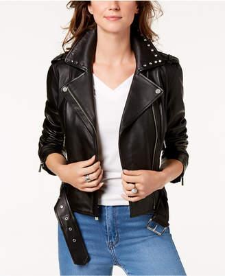 Michael Kors Studded-Collar Leather Moto Jacket