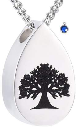 Keepsake DIYjewelry Inc Tree of Life Teardrop Birthstone Memorial Ashes Necklace Urn Cremation Pendant Jewelry