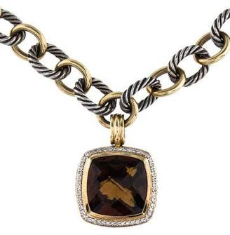 David Yurman Smoky Quartz & Diamond Albion Pendant Necklace