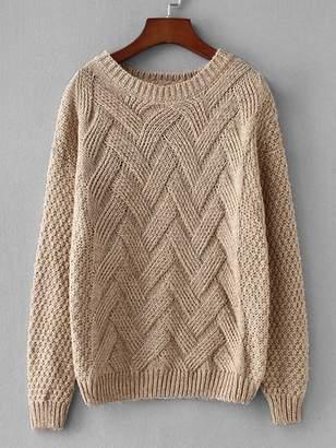 SheinShein Rib Hem Pointed Sweater