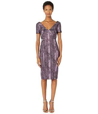 Zac Posen Metallic Party Jacquard Short Sleeve V-Neck Fitted Cocktail Dress