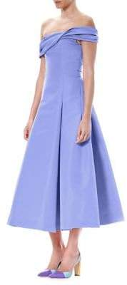Carolina Herrera Off-The-Shoulder Silk Faille Cocktail Dress