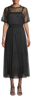 Brunello Cucinelli Short-Sleeve Pleated Crystal-Embellished Lace Illusion Dress
