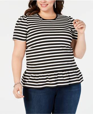 Michael Kors Plus Size Striped Ruffle-Hem T-Shirt