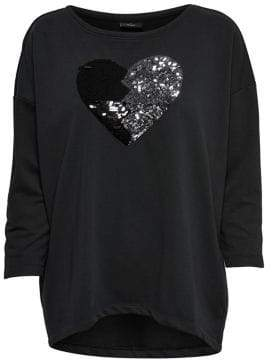 Only Sequin Heart Pullover Sweatshirt