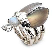 Alexis Bittar Labradorite & Crystal Encrusted Scarab Ring