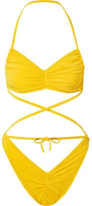 Norma Kamali Butterfly Ruched Halterneck Bikini - Yellow