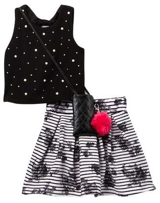 Beautees Studded Crop Top, Skirt, & Crossbody Bag 3-Piece Set (Big Girls)