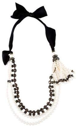 Lanvin Pearl and Crystal Multi Strand Tassel Necklace