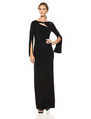 Adrianna Papell Women's Beaded Neckline Long Jersey Dress