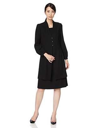 (モノワール) MONOIR 喪服 レディース 礼服 大きいサイズ 二枚重ね 前開き 授乳 ブラックフォーマル ワンピース オールシーズン 02P33272 9号 ブラック